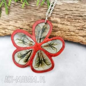 naszyjniki naszyjnik z mchem w czerwonym kwiatku z1031, wisior kwiat, emaliowany