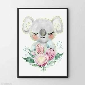 plakat obraz słodka koala 30x40 cm, pokój dziecka, dla pokoik