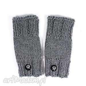 mitenki krótkie - szare - mitenki, rękawiczki, zima, dziergane, ręka