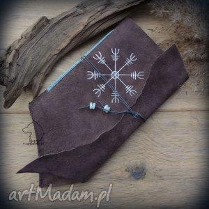 hand made notesy notes a6 ze skórzaną miękką okładką aegishjalmur - ręcznie robiony i malowany