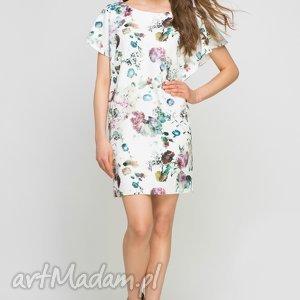 Sukienka, SUK145 kwiaty, falbany, sukienka, prosta, elegancka, wzór, midi
