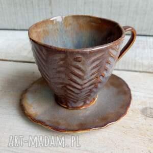 zestaw do espresso boho rzeźbiony, espresso, filiżanka