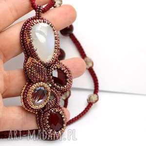naszyjnik z zawieszką opal dendrytowy, kwarc rubinowy i szkło - agat, kwarc