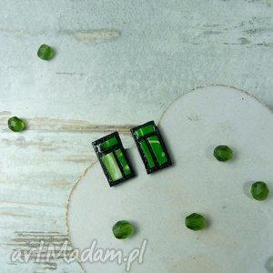 Geometryczne kolczyki wkrętki - zielone, kolczyki, wkrętki, sztyfty, fimo, modelina