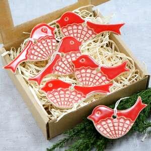 ceramika czerwone ptaszki, ptaszki na choinkę, ozdoby choinkowe