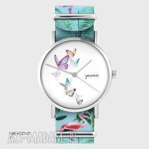 ręcznie zrobione zegarki zegarek - motyle flamingi, nato