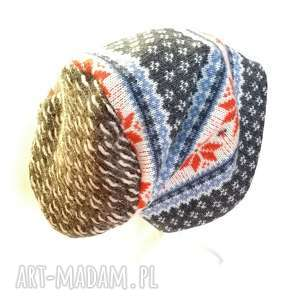 Czapka wełniana norweska damska męska zimowa handmade czapki