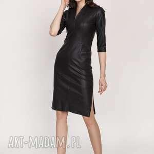 skórzana sukienka, suk178 czarny, dopasowana, obcisła, ekoskóra, mini