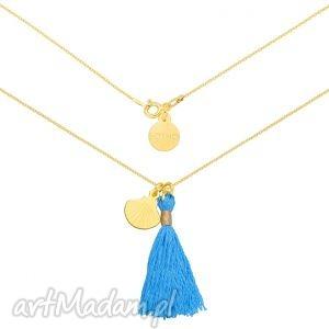 naszyjniki złoty naszyjnik z niebieskim chwostem i muszelką, naszyjnik, chwost