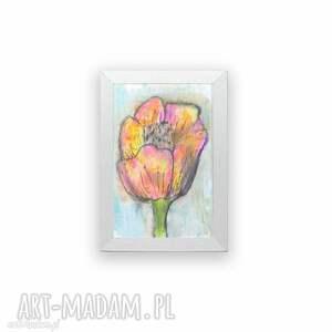 oprawiona akwarela z tulipanem, mała akwarelka kwiatkiem, tulipan obrazek mały