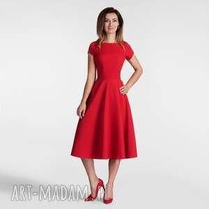 sukienka klara total midi czerwień, sukienka, midi, kieszenie