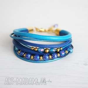 bransoletka - niebieska, indygo, koraliki złota, bransoletka, rzemienie