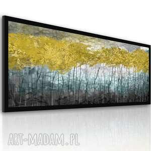 obraz drukowany na płótnie - nowoczesny pejzaż - abstrakcyjne złote drzewa