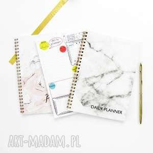 zestaw 3 planerów dziennych, notesy a5, marmur, planer, zestaw, notes, plan