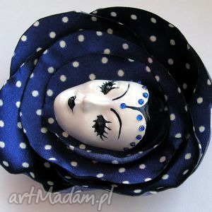broszka z kolekcji masquerade - dla pani anny - broszka, maska, wenecka, arlekin, kropki