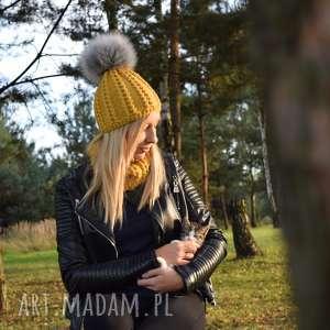 Komplet musztarda merynos damski czapki molito wełniany, ciepły