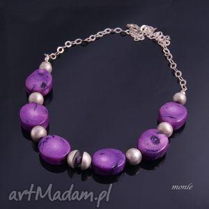 PurpleRain, fioletowy naszyjnik - ,naszyjnik,srebro,koral,biżuteria,fiolet,