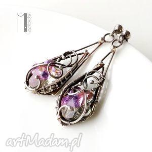 fleur - srebrne kolczyki z kryształem swarovski, sztyfty, wrappng