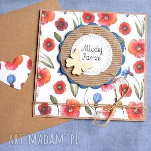 kartka ślubna maki chabry, ślub, ślubna, kwiaty polne, łąka, maki