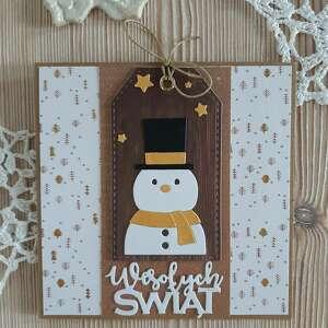 scrapbooking kartki karta świąteczna z bałwankiem, zima, życzenia, bałwan