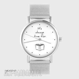 ręcznie wykonane zegarki zegarek, bransoletka - it is always time for a book