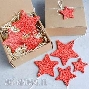 dekoracje zestaw gwiazdek - zawieszki ceramiczne, gwiazdki, śnieżynki, ozdoby