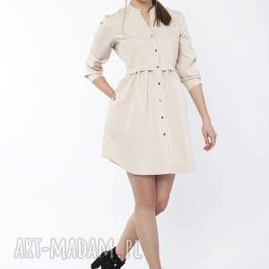 Sukienka koszulowa, suk163 beż sukienki lanti urban fashion