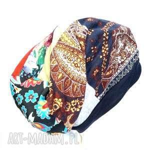 czapka damska patchworkowa długa folk etno, czapka, boho, patchwork,