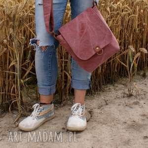na ramię safari płótno brudny róż, torba, torebka, skóra, płótno, ramię, lato