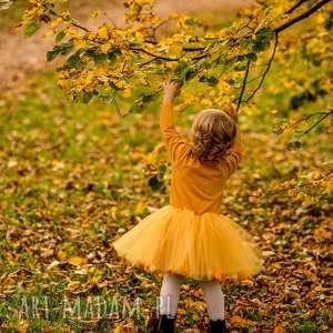 Sukienka z tiulem i pomponikami Fluffy Mustard, pompony, pomponiki, tiul, tiulowa