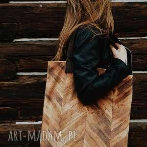 torba mr m jodełka/ uszy skóra naturalna, wygodna, oryginalna, print, deski
