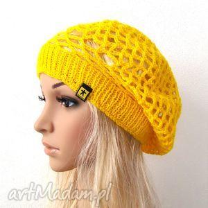 żółty ażurowy beret, na wiosnę, berecik, ażur, wiosna, beretoczapka