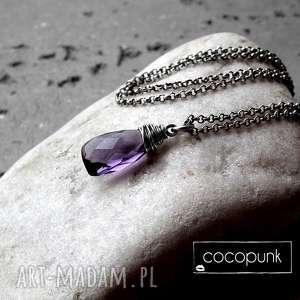 srebro i kwarc fioletowy - naszyjnik, delikatny, komplet, ultra violet, z kwarcem