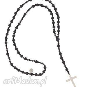 czarny naszyjnik różaniec onyks z krzyżem swarovski®