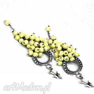 świąteczny prezent, paste yellow, kolczyki, srebro, perły, zółty, biżuteria