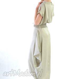 MIRISSA BEIGE - suknia jedwabna - wieczorowa, koktajlowa, długa, jedwabna