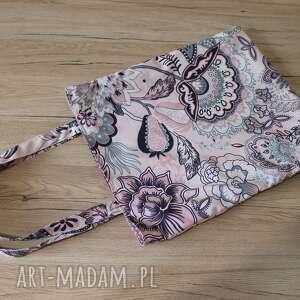 Torba bawełniana - orientalne kwiaty na pudrowym różu torebki