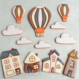 magnesy zestaw magnesów, magnesy, balon, domek, miasteczko, ozdoba, kuchnia