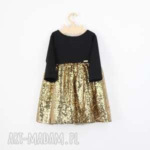 Cekinowa sukienka z kokarda, złota, cekiny