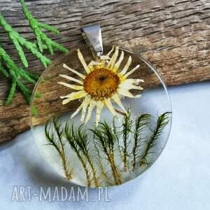 przeźroczysty wisior z kwiatkiem z1062, kwiatowa biżuteria