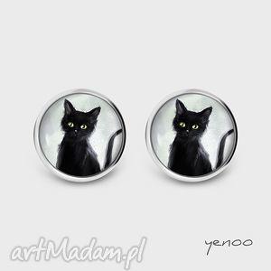 Prezent Kolczyki - Czarny kot sztyfty, grafika, kolczyki, wkrętki,