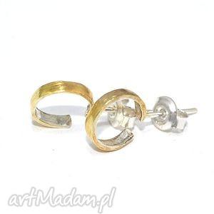 Otwarte koła, sztyfty, srebrne, 925, złocone