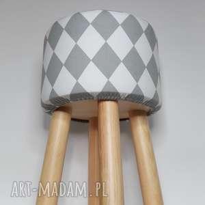 Pufa Szary Arlekin 2 - 45 cm , puf, taboret, stołek, vintage, siedzisko, ryczka