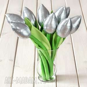pomysł na prezent święta TULIPANY srebrny bawełniany bukiet, kwiaty, bukiet