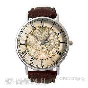 mapa świata - skórzany zegarek z dużą, vintage, stara