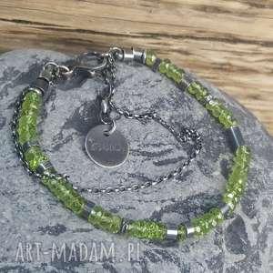 handmade bransoletki bransoletka srebrna z peridotami
