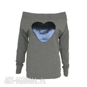 bluzki bluzka z dzianiny cekinowym sercem cekiny dwustronne, bluzazdzianiy