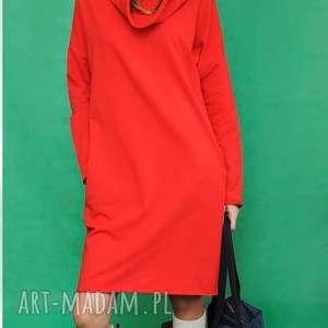 sukienka z kominem why not oversize czerwona, spodnie, marynarki, dres, spódnice