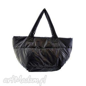 na ramię torebka damska pikowana, puchowa 006 czarna, torba, torebka