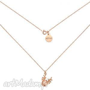 naszyjnik z różowego złota reniferkiem, modny, naszyjnik, zawieszka, złoty